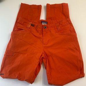 patagonia orange hiking  pants cargo zipper pocket